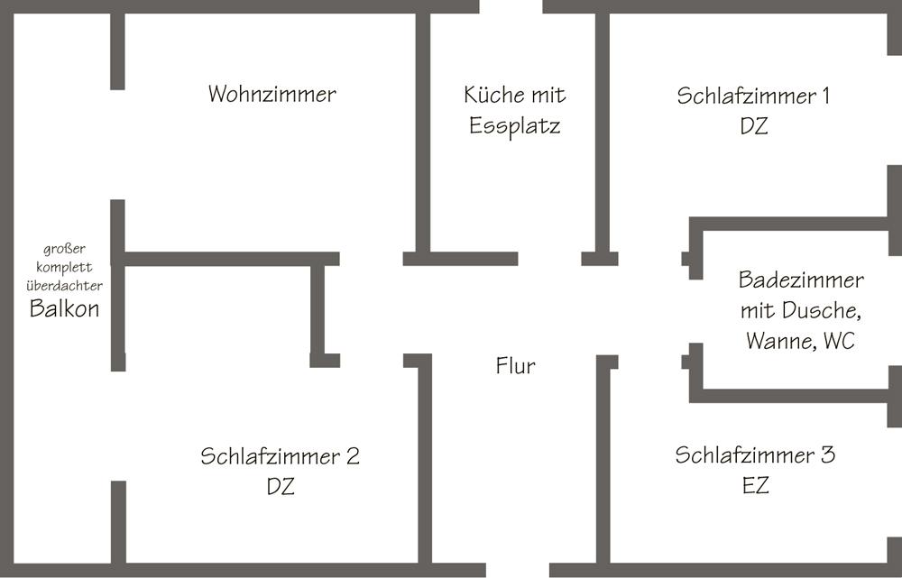 Ferienwohnung Sassenberg ::.. - Wohnungsplan